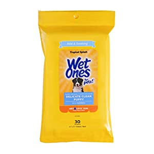 Wet Ones for Pets Delicate Clean Puppy Cleaning Wipes with Oatmeal | Mild & Soothing Puppy Grooming Wipes in Tropical Splash Scent, Wet Ones Wipes with Wet Lock Seal | 30 Ct Pouch Dog Wipes (FF12845)
