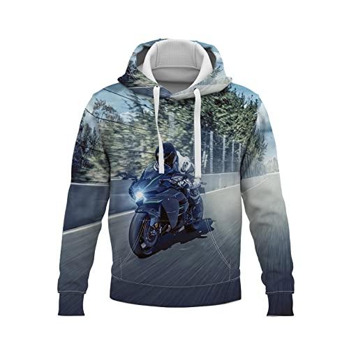 NHhuai Impreso Hombres s s Chaquetas de Chico, Tracksuits Streetwear Cuello Redondo de la impresión Digital 3D de la Motocicleta de los Hombres