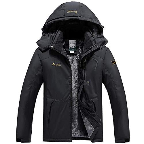 Chaqueta acolchada de forro polar para hombre al aire libre a prueba de frío abrigo-1 masculino negro_4XL