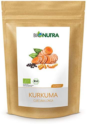 BioNutra® Kurkuma Capsules biologisch 240 x 750 mg, Duitse GMP-productie, biologisch kurkumapoeder (Curcuma longa) met biologische zwarte peper, natuurlijk curcumine-gehalte, zonder toevoegingen