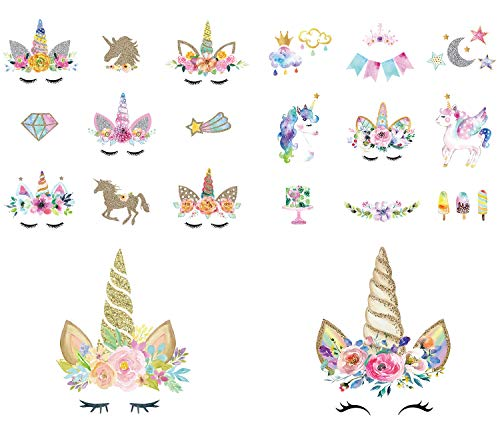 Calculs Unicorn Iron On Transfers for Birthday Girl 20 Pcs Small HTV Decorations Stickers for Canvas Bag, Unicorn Accessories, Baby's Clothing