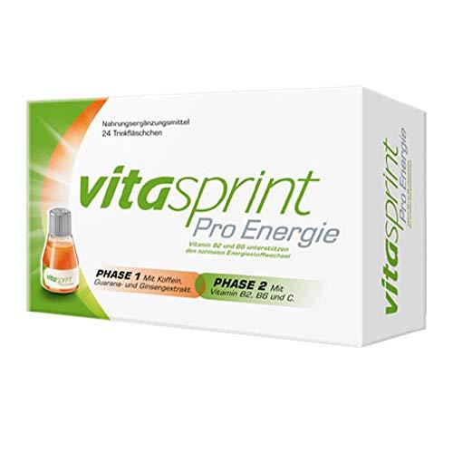 Vitasprint Pro Energie Trinkfläschchen – Natürliches Nahrungsergänzungsmittel für verbesserte Konzentration* – 1 x 8 Trink-Ampullen