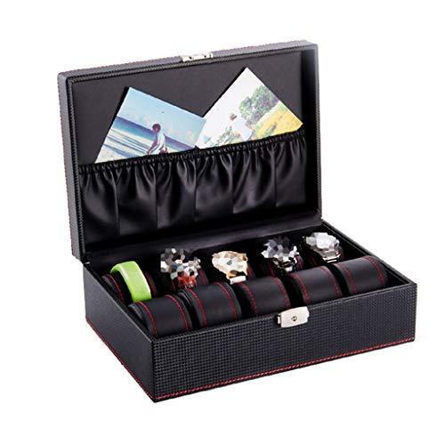 Caja de reloj para almacenamiento de joyas Caja de reloj de cuero sintético para hombres / mujeres Caja de almacenamiento de joyería de reloj grande de 10 rejillas con cerradura para viajes o escaparates Colección de joyas / decoración