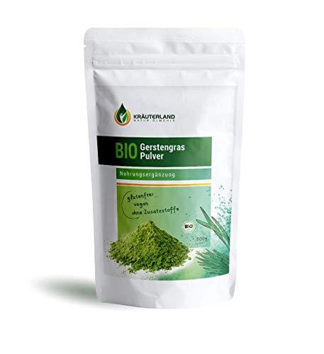 Kräuterland - Bio Gerstengras Pulver 500g - 100% rein, ohne Zusätze aus kontrolliert biologischem Anbau, laborgeprüft -Green-Smoothie, Gerstengrassaft(500g)