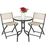 LUGEUK Conjunto de Muebles de Comedor de la terraza de 3 Piezas con la Parte Superior de la Mesa de Cristal con Textura Redonda, Silla Plegable-Beige