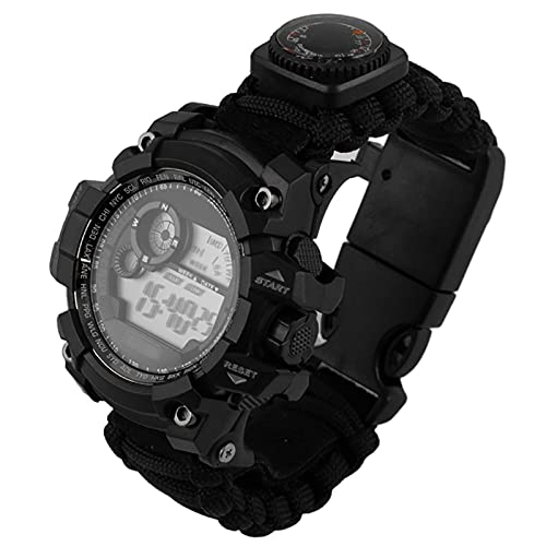 WTYU Montre de sécurité de Survie, Montre de Bracelet d extérieur, avec Paracord, Boussole, sifflet, pour la randonnée en Plein air, Camping, pêche, Cadeaux pour Hommes