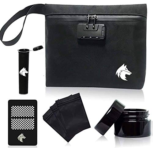 Upgraded Smell Proof Bag | 7 Piece Durable Waterproof Container Includes A Combination Lock, 3 Smell Proof Bags, Custom Grinder and A 50 Gram UV Blocking Herb Glass Container | 11x7.5x2.5 (Black)