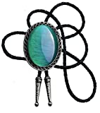 Bolo Tie with Natural Stone Turquoise Stone Style Genuine and Cowhide Rope More Colors (Emerald Cat Eye)