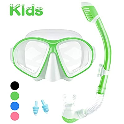 Supertrip Kids Snorkel Set-Scuba Dry Top Diving Mask Anti-Leak Impact Resistant Panoramic Tempered Glass Easybreath Snorkeling Packages Professional Swimming Gear for Youth Boys and Girls (Green)