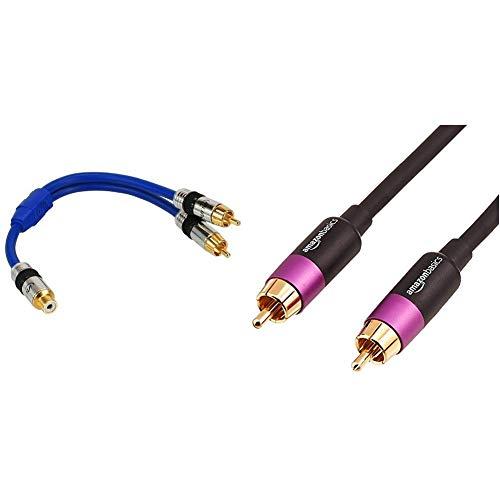 InLine 89927P Premium Y-Kabel (1x Cinch Buchse auf 2X Cinch Stecker, 0,25m) & AmazonBasics PBH-19092 - Subwoofer-Kabel, 15,2 m