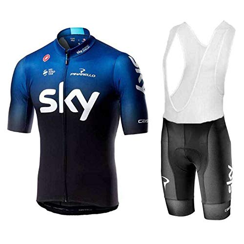 WOLFIRE WF Tuta da Ciclismo per Uomini di Squadra. Culotte e Maglia. con Gel Pad 5D. per MTB, Spinning, Road Bike (Sky, 2XL)