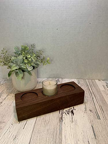 Small wood Candle Holder Made from reclaimed walnut For use with Tea Light Votive Candles as product image