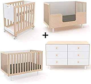 Oeuf Fawn Collection Complete Nursery in Birch with 6 Drawer Dresser