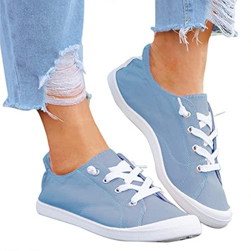 Dwevkeful Frauen Sneaker Canvas Flache Schuhe, Sommer Herbst Beiläufige Atmungsaktive Turnschuhe Laufschuhe Straßenlaufschuhe Walkingschuhe für Damen