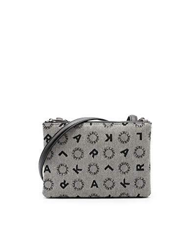 Mini-Tasche aus Logostoff und Details aus schwarzem Leder.