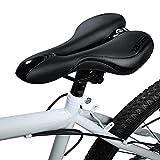 Asvert Sillín MTB Antiprostático de Ciclismo Transpirable y Ancho con Muelles y Raya Refleja Asiento para Bici MTB Carretera Montaña Urbana al Aire Libre (Negro C)