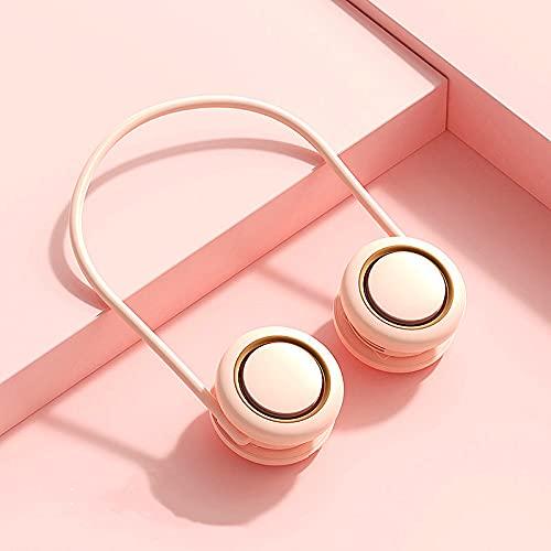 Mini ventilador portátil de cuello, ventilador de bolsillo compacto y plegable, rotación de enfriamiento de 360°, recargable por USB 2000mAh, menor ruido, velocidades (rosa)