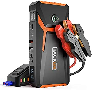 TACKLIFE T8 Avviatore di Emergenza - 18000 mAh, 800A Avviatore Auto Portatile per Motore Benzina fino a 7.0L e Diesel 5.5L, 12V Jump Starter, Torcia Elettrica a LED, Doppie Porte USB (Giallo)