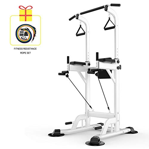 YI'HUI Fitness Multifunzione Power Tower/Multi Station per Home Office Palestra Dip Stand Pull Up Push Up,Bianca