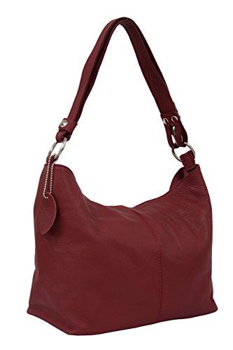 AMBRA Moda Damen Leder Handtasche Schultertasche Umhängetasche Hobo bag GL005 (Dunkelrot)