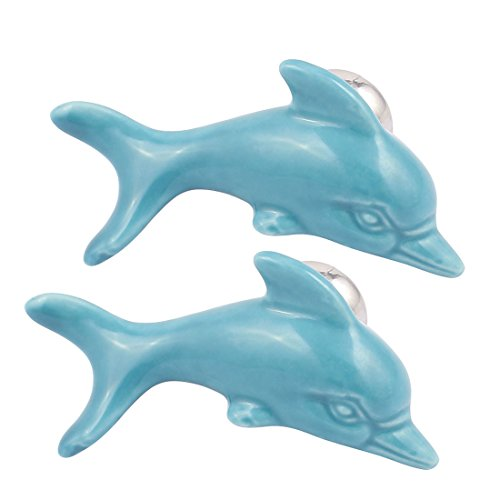 uxcell Cabinet Wardrobe Drawer Door Pull Dolphin Shape Design Ceramic Knobs Blue 2pcs