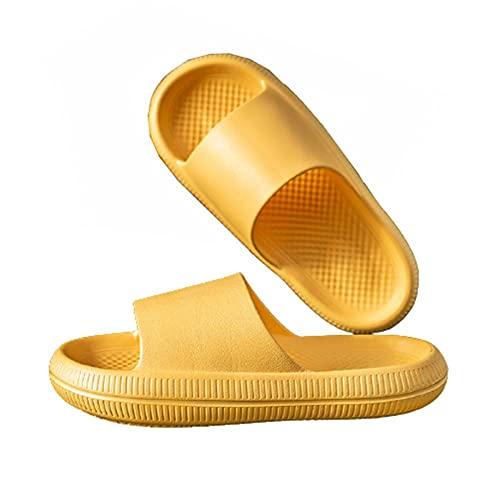 Fashion Couple Mute Sandalias para el hogar Zapatillas Secado rápido Zapatos con punta abierta para la casa para piscina,playa,gimnasio,interiores y exteriores,amarillo,39-40