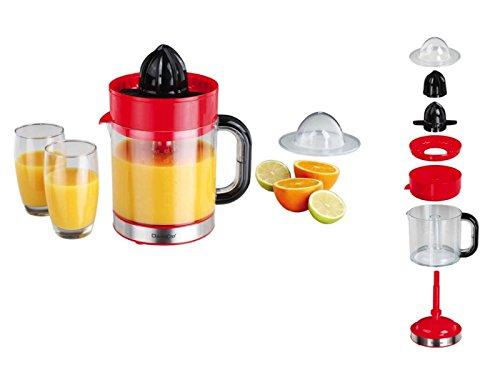 Elektrische Zitruspresse mit Ausgießer Orangen-Presse Saftpresse (Entsafter, Behälter 1,2 Liter, 2 Presskegel, Zerlegbar, Rot)