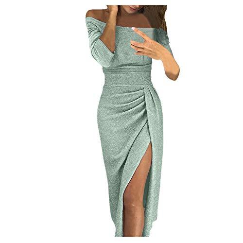 iHENGH Damen Frühling Sommer Rock Bequem Lässig Mode Kleider Frauen Röcke V-Ausschnitt Plaid, figurbetontes Kleid Langarm Minikleider(Grün, S)