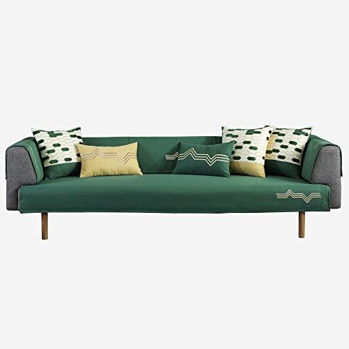 YUTJK Chenille Sofabezug Handtuch, Für Haustiere Couch Sofa Überwürfe, Anti-rutsch Übergroßen Spitze Couch Sofa Überwürfe Couch-Shield, Sofaschoner, Für Ledersofas, Grün