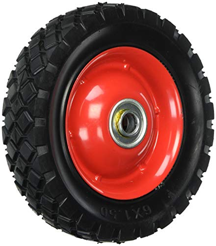 Shepherd Hardware 9591 6-Inch Semi-Pneumatic Rubber Tire, Steel Hub with Ball Bearings, Diamond Tread, 1/2-Inch Bore Centered Axle