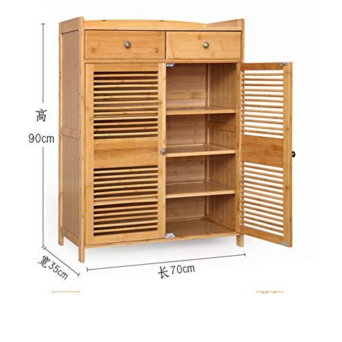 QYN Bambú Multicapa Gabinete del Zapato,Gran Capacidad De Almacenamiento Organizador De Zapatos Madera Sólida Transpirable Multifunción Zapatero Caja-d 70x35x90cm(28x14x35inch)