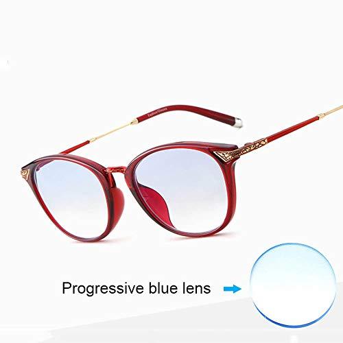 Reading glasses Lesebrille | Ultraleichte Tragbare Lesebrille FüR Damen | Anti-Blaulicht-Brille | Blaue GleitsichtgläSer | Integrierte Nasenpads
