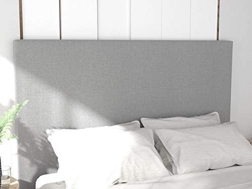 LA WEB DEL COLCHON - Cabecero tapizado Paros para Cama de 150 (160 x 120 cms) Gris Claro Textil Suave | Cama Juvenil | Cama Matrimonio | Cabezal Cama |
