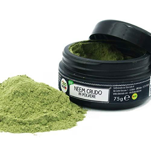 CiboCrudo Neem in Polvere, Bio Organic Powder, Provenienza India, Integro e Pura al 100%, Estratto dai Semi, Naturale Ingrediente per Creme, Lozioni, Cosmetici per il Corpo – 75 gr
