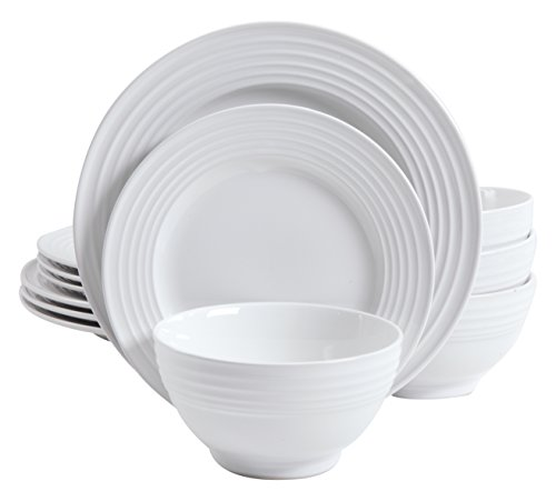 Gibson Home 12 Piece Plaza Cafe Round Dinnerware Set with Embossed Stoneware, White - 102274.12RM