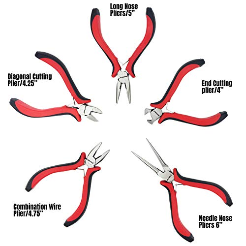 NORTOOLS 5 PCS Combination Mini Pliers Set with Dual Color Grip Cutting Tools Set for Jewelry Arts Mechanical Work Small Electronics Repair