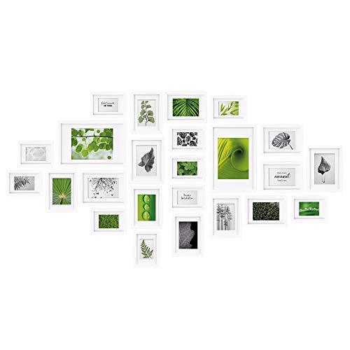 bomoe Nature Bilderrahmen 24er Set Bilder-Collagen Fotorahmen Metall-Aufhängung, Aufsteller & Passepartout - 10x 10,5x15cm / 8x 13x18cm / 4x 15x20cm / 2x 20x30cm - Weiß