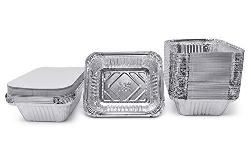 (60 Pack) Premium 1-LB Takeout Pans with Lids - 5.6' x 4.6' x 1.9' l Extra Heavy-Duty l Disposable Aluminum Foil for Catering Party Meal Prep Freezer Drip Pans BBQ Potluck
