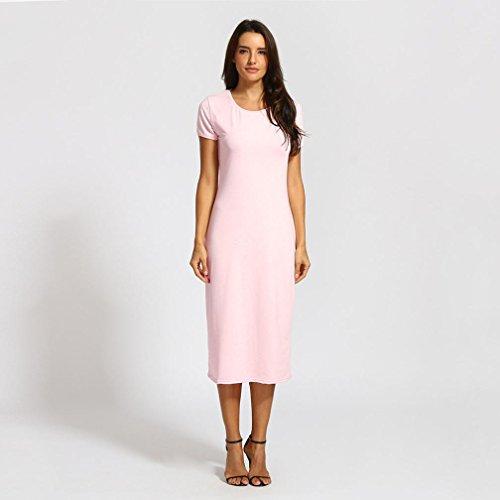Women's Summer Short Sleeve Plain Scoop Neck Loose Swing Casual Midi Long T Shirt Dress
