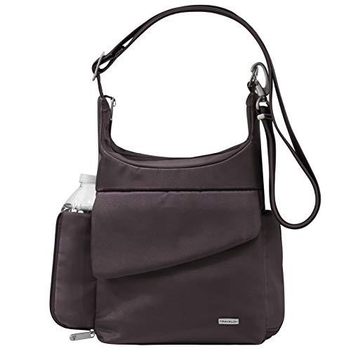 Travelon Umhängetasche mit Diebstahlschutz Violett Aubergine Twill - Exklusive Farbe mit Khaki Futter Einheitsgröße