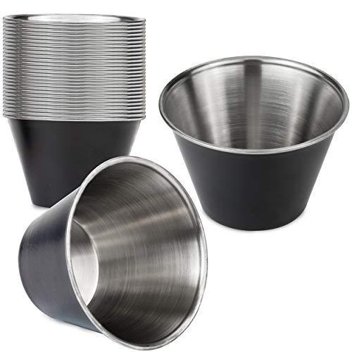 Juego de 24 tazas de salsa de acero inoxidable de 4 onzas, color negro mate individual redondo condimentos Ramequines de calidad comercial, salsa de salsa de inmersión