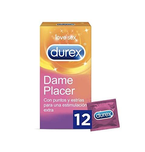 Durex Preservativos Dame Placer con Puntos y Estrías - Total 12 Condones