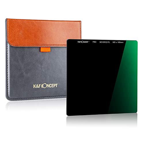 K&F Concept ND1000 - Filtro Cuadrado ND ND1000 100x100x2.0mm 10 Pasos con Funda de Cuero