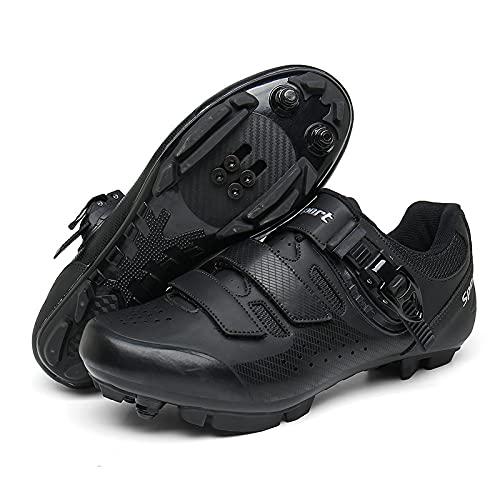 KUXUAN Zapatillas de Ciclismo Hombre Mujer Outdoor MTB Road Bike Shoes Zapatillas de Ciclismo de competición Zapatillas MTB para Hombre,Black-36EU