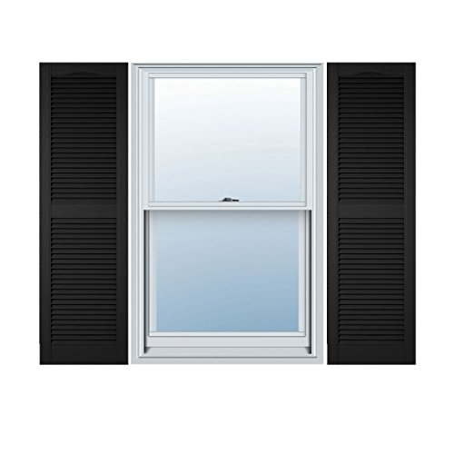 Ekena Millwork LL1S14X04800BL Lifetime Vinyl Standard Cathedral Top Center Mullion with Open Louver Shutters, 14 1/2