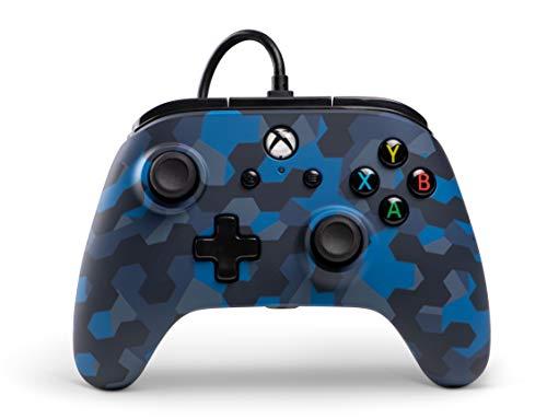 Power A Kabelgebundener Controller Offiziell von Microsoft lizenziert und Kompatibel mit Xbox One, Xbox One S, Xbox One X und Windows 10 - Stealth Blaue Tarnung