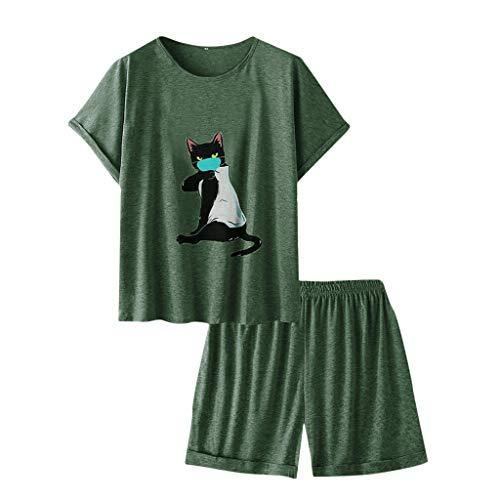Junjie T-shirt et short imprimé à manches courtes pour chat de bande dessinée pour femme, bleu, vert, rose, gris L-5XL