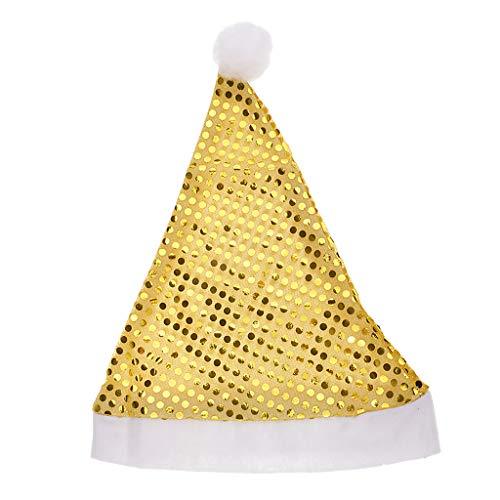 D DOLITY Bonnet de Père Noël pour Noël et Fête Déguisement - Or
