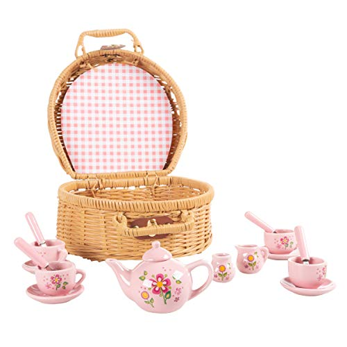 Kids Tea Set-Mini Porcelain Tea Party 17pc. Playset with Cups, Saucers, Spoons, Teapot, Carrying Basket-Pink Flower Design-Pretend Play
