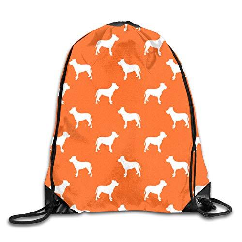 Pitbull Silhouette – Diseño de silueta de perro – Mochila de cordón naranja bolsa de cuerda bolsa deportiva gimnasio mochila para hombres y mujeres